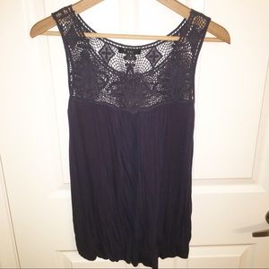 Forever 21 dark grey tank with crochet top